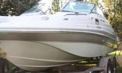 5.0L Volvo Penta w/60 hours, tower, bikini top, cover, sink, toilet, speakers, table, Tandem Axle Trailer. VERY CLEAN!!!!!Boat Details: Fuel - Gas/Petrol Hull Material - Fiberglass Hull Shape - Deep Vee Engine Type - Stern Drive Beam - 8 ft 6 in Max Draft