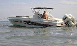 Registered at 28' this boat is 32' LOA. Powered with twin counter rotating Evinrude 250's (2001's) purchased in 2002. Two stroke fuel and oil injected. The engines have approximatly 200 hours (most trolling). The boat is equipt with a full instrumentation