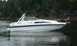 "1989 searay sundancer , 8'6"" beam , 3 ' draft , inboard/outboard, 454ci magnum v8 ,fresh water cooled, bravo 2 leg with only 360.0 hours on complete engine and leg rebid done at skippers marine in nanaimo b.c , trim tabs, new batteries , with onboard"