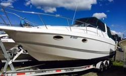 TWIN VOLVO PENTA GAS 5.0EFI ENGINES WITH CLOSED COOLING AND A LOAD RITE TRIPLE AXLE WITH ALL NEW TIRES AND HYDROLIC BRAKES. FULL CANVAS ENCLOSURE WITH SCREENS. FULL SHOWER AND HEAD, FULL GALLEY WITH FRIDGE STOVE MICROWAVE AND SINK. CABIN SLEEPS 2 WITH