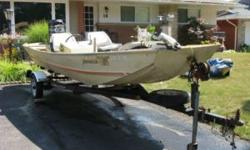 16 ft Fenwick flat bottom boat. Bass boss V60 With 85hp black Mercury motor. Runs and drives good. Can pull a skier. Comes with fish finder and Trailer. Has two gas tanks. I took some pictures and a video of it running. Comes with 2 tanks, and has 2 new