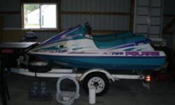 Great Condition. 3 seaters with reverse. 2 excellent covers. 1995.52 hours and 56 hours. Used 1 week for 4 years. Stored ever since. Trailer with storage. We are older original owners. $5500.or best offer. Trade: Seadoo Style Jet Boat. Email me.