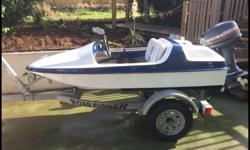 Great little boat, tons of fun! 2 seater speed boat with road runner trailer. It has a 9.9 Yamaha engine, depth sounder and built in bilge pump. Comes with a storage cover. Up for $3,500 but we are open to offers.