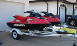 Both seadoo's have been serviced, post & pre-season by Bombardier dealer. one machine has 100 hrs & other 15hrs, new motor installed by Bombardier in 2008. Both machines run excellent up to 55 mph on the water. Karavan Trailer. Have all receipts for