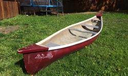 3-4 person canoe for sale. Could use a little tlc, but still works well. Very heavy; previously resurfaced with industrial strength fiberglass. About 16.5' long.