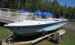 This boat is in fair condition, it runs well with an electric start, oil injector, bilge pump, newer battery.It has a 35 horse Mercury outboard. It always starts and has been serviced yearly by the marina The boat does not come with a trailer, but I can