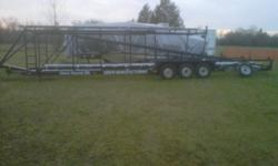 """43 ft tri axle axle buddy bearings 3 x 8000 lb axles  built with 2x6 steel led lights its a fifth wheel but all you need is a 2"""" receiver and pull it with a pickup $4400 cash"""