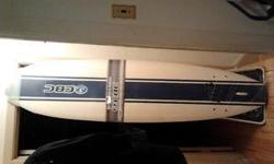 """Soft Top 84"""" Surfboard set. Comes complete with three removable fins, board and leash. Very slight dent/tear on the deck (see accompanying photos)."""