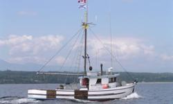 42' retired West Coast Trawler for sale.  471 Detroit Diesel with 5000 hours on a professional rebuild.  2 x 100 gal water tanks.  2 x 150 gal fuel tanks.  VHF, Depth Sounder, Plotter, Auto pilot, radar needs connecting.  Diesel stove in cabin.  New