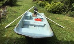 I have owned this boat motor package since new in 1974. There is very few hours on the motor. The motor was fully serviced last year, starts on first pull every time! The 8 foot boat is a tri-hall fiberglass, I can stand on the edge of this boat and it