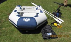 8 ft. Aqua Marina Inflatable soft bottom boat for sale. Comes with wooden seat, two aluminum oars, hand air pump, storage bag. 45 lb 12 volt 5 speed Minn Kota electric motor. 12 Volt deep cycle battery with case. Boat has only has 10 hours use.This is a