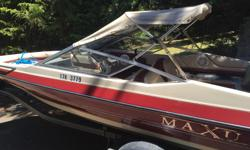 1991 maxum bow rider. Comes with 115hp Yamaha out board two stroke. Great engine always starts! Trailers in good condition, comes with spare. Awesome lake boat easy to haul a couple rips in the seats that's all that's wrong with it. $7000obo