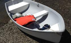 Could be converted to a sailing dingy. Centreboard slot built in and cutout for mast step. Or add a small motor. Transport on cartop racks, easily carried by two.