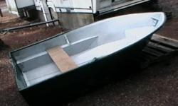 """9 ft fiberglass. Hull is 50"""" wide. Transom is solid. Great boat, no leaks. Comes with extra bench seat."""