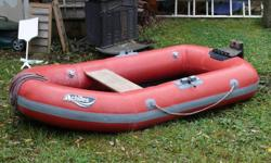 Very nice inflatable in very good condition. No leaks, no patches, comes with oars and large foot pump to inflate. Has motor mount for small outboard.