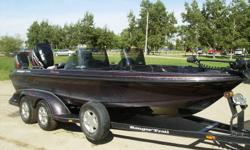 "FIBERGLASS 19'6"" Ranger Fisherman series and double axle trailer, 200 HP Optimax motor and electric start 9.9 HP 4-stroke Mercury kicker motor.  Tons of compartments for storage, 4 seats and bike seat, 8 rod holders, custom made tinted LARGE removable"