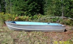 16' aluminum boat for sale.  5' wide and 2' deep.  Heavy guage aluminum.  Wood seats on both sides and front of boat, made with plywood.  2 Johnson 25 hp. motors also.  One regular shaft works well.  One long shaft.  Can sell separately.  Call (705)