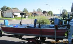 14' Springbok Boat, Tilt trailer / 4 rollers on each side, / new lights, and spare tire. ...2002..9.9 Johnson 4 stroke /electric start motor...excellent shape , starts easy and is clean ... motor stored indoors every winter ... , Also comes with electric