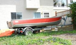 Reduced price again- a good buy especially at this new price!!! 14 foot Aluminum boat (hardly used and is in good shape) on new Road Runner galvanized trailer. Oars included.