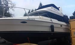 1992 Bayliner 30' flybridge with 2011 Mercruiser 5.7L engines, inverter, electronics, heater, downrigger mounts and much more for only $31,777! Options include: Fishfinder, GPS and Radar Stereo Bus heater Stove, microwave, fridge Head with holding tank