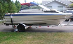 GM  5ltr(305) VOLVO 280 leg.engine top end rebuilt. runs excellent. newer seat upholstery&carpets&canvas tops.new trailer tires,bearings,lights&bunks. cabin sleeps 4 adults. with porta potty.4 new scotty rod holders.new geralick kicker mount .electric