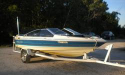; 1988 bayliner capri 17 ft.with a 2.3 ford motor/130 hp omc drive good on gas runs very well custom built trailer with a sidewalk and loading guides15 in tires all in very good cond . $5,500 obo ,call gary 1 204 449 2177