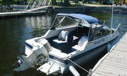 Boat has updated interior, completely redone 6 years ago including  carpet and new top.   Includes custom made fishing assembly & fishfinder. Converts from fishing to pleasure craft in minutes. Fish in the morning and tube with the kids in the afternoon.