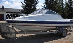 """1993 Bayliner Cutty Classic Model #1952 Length 18'8"""", Width 7'6"""" with 3L Mercury Cruiser Engine Seats 6 Persons on 1993 Escort Trailer with rock guard screen comes with Mooring Cover and Traveling Tarp has overnight sleeping quarters Great for fishing,"""