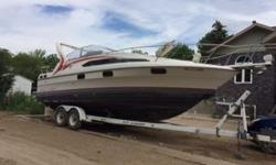 1989 Bayliner Sunbridge 2655. 350 mercruiser . Full kitchen and bath, hot water tank, freshwater tank. Sleeps 5 adults comfortably and 7 with children. C/W sun canopy and full zip up cabin enclosure. Excellent condition. Run well. Stainless steel prop.