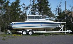 1988 Bayliner, Trophy Hard Top, 24.5 Feet, Inboard Outboard, 15Hp Honda spare with electric start and remote steering. Fish finder, G.P.S, V.H.F., Trim Tabs, Three sets of Big John electric down riggers, mast and two planer boards, Buoys, ropes and