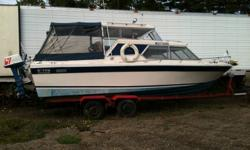 1979 reniell weekender 24ft power boat with I/o merc. Pwr trim tabs, pump out head, sink, stove, fridge, vhf, fishfinder , fenders and sleeps four.