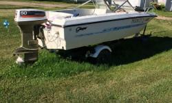 Older 14 ft. Glasspar boat with 50hp. motor, 34 lb.thrust trolling motor. Runs well. Needs battery. $1500.00 obo. Need it out of my yard.