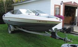 2 new batteries (1 for spare) All tune up with oil change and plugs and wires and belts New stereo (cd,usb) New boat cover New pin stripe Spare propeller Dept and fish finder 2.3l ford engine same motor in a Ford Ranger 4 Cylinder New axle on trailer and