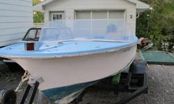 nice 15 ft fiberglass boat and 35 hp mercury working good  just winterized  tank and controls only 525  trailer available for 325  moncton call 381-9570  trades?????????