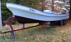 26 ft boat and one 7hp and one 40hp motor as is where is. Will trade for a truck of equal value.