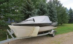 2005 Crestliner 1700 Serenity boat, with 2004 Evinrude 100 hp motor, trolling motor, trailer, canopy and new boat tarp.