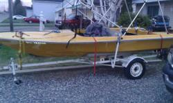 MOTOR WAS REBIULT WITH JUST A FEW HOURS ON IT ,BUT I CANT SWIM SO IT,S NOT FOR ME ,,TRAILER NEED WORK COMES WITH SAFTEY STUFF PADDELS I GOT IT ON A DEAL BUT IM NOT IN TO WATER SKING BUT BOAT LOOKS GOOD , NEW SUN COVER, AND BOAT COVER COMES WITH IT,,,,WILL