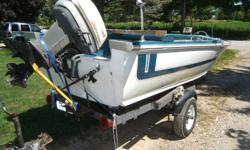 16' alum boat with 40 horse johnson moter on trailer runs well and also comes with fish finder.