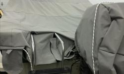 Spring is here , and a perfect time to get boat done . We do upholstery on all boat seats , carpets , old style travel tarps with canvas. , motor covers , cockpit covers , and bow covers . Aprox prices Back to back fold down seats 400 plus vinyl Cockpit
