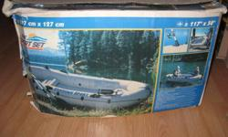 the sport set sea hawk sport is 297 x127cm and holds 300kgs this is an inflateable ,used once and put back in the carrying bag and put back in the box,this was purchased through cosco