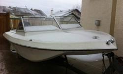 Good Mercury 75 hp with low hours (30-40). Trailer, life vests, paddles and tube included. The motor is much newer than boat and would be a great transplant to your boat.