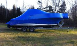Boat wrapping via shrink wrap, we use top quality material, wrap includes vents and a door so you can still access your boat through the shrink wrap.