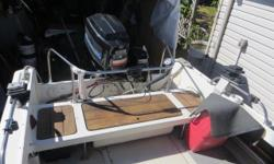 1973 Boston Whaler Outrage. Double axle easy load trailer. 150 Mariner outboard. 6 hp Mercury kicker.