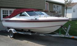 17' Cadorette speedboat/90hp Evinrude motor(power tilt/trim) & gal. trailer with new spare tire all in excellent condition. Great boat for recreational fishing (wide and stable) & for water skiing.Comes with canopy, custom winter storage cover, spare
