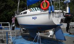 1978 Catalina 27 Traditional interior w/ bulkhead-mounted flip-down table and pull-out couch (double bed). Over $10,000 in recent upgrades, which include: rigging, new mainsail, upholstery, canvas, electronics, plumbing, electrical (DC panel, battery