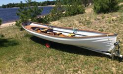 For sale by owner - Classic Whitehall Spirit® 17 Double Slide Seat Sculling Rowboat. Construction - Hand-laid fiberglass lapstrake hull, impeccably finished inside and out. The woodwork is solid teak, finished in hand-rubbed oil, meaning maintenance is
