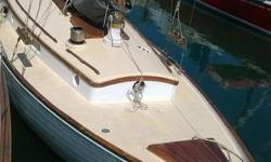 "Near Wooden Boat Show ready, the 1939 Sea Witch , Ed Monk SR. design, 29'7 LOA wooden hull, 8'8"" beam 4'5"" draft, gas engine. Mast has been varnished with 9 coats of Captains Varnish and bottom painted last October 2011 Includes 2 jibs and jenny. This"