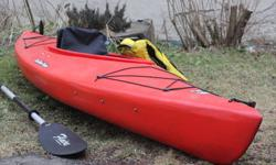 """Clearwater Designs Nunu in red. - 9'6"""" with rear bulkhead and storage. includes spray skirt, PFD, paddle(220 cm) and bailer."""