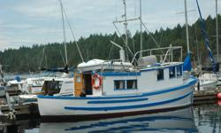 """For Sale: The Pacific Susan is a well maintained (bottom just done) converted double-ender troller. This reliable old girl was built with a red cedar hull on oak frames by Buford Haines in aprox. 1955. 35'6"""" LOA, beam 10'6"""", aprox. draft 4'6"""". Sleeps 6+."""