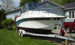 Length 26.8' White with Teal including Venture tandom axle trailer 350 hp Merc I/O with power trim tabs V-berth with Aft cabin Fridge, Electric/Alcohol Stove. Washroom with shower 110 V shore power with cabel VHF radio. CD player